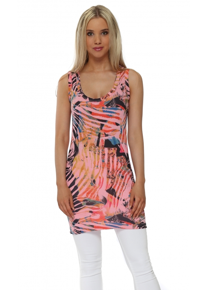 A Postcard From Brighton Trina Coral Tropical Tribe Cut Edge Vest