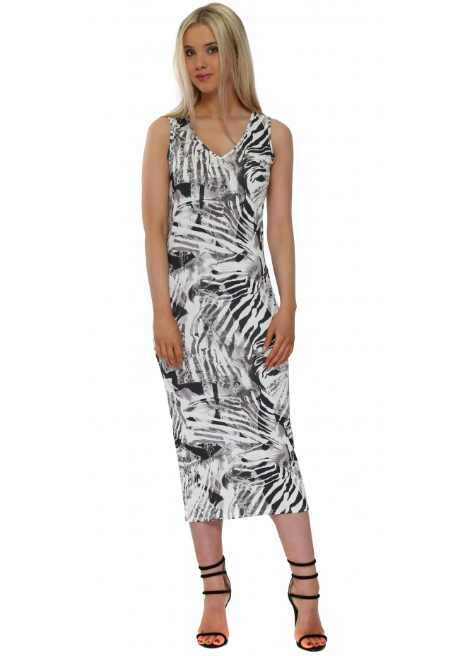 A Postcard From Brighton Thea Tropical Tribe Ice White Midi Dress