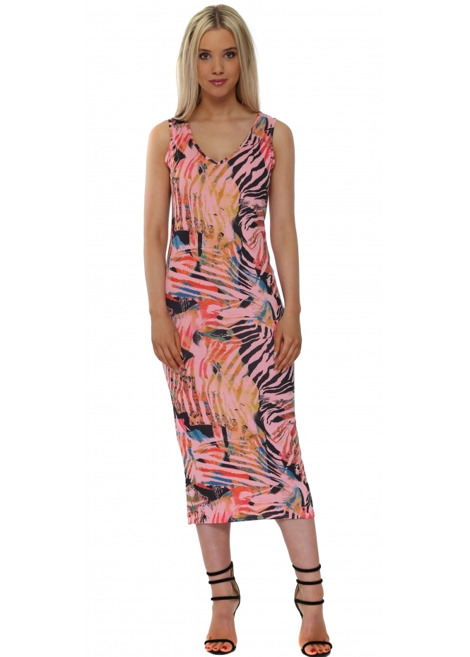 A Postcard From Brighton Thea Tropical Tribe Coral Midi Dress