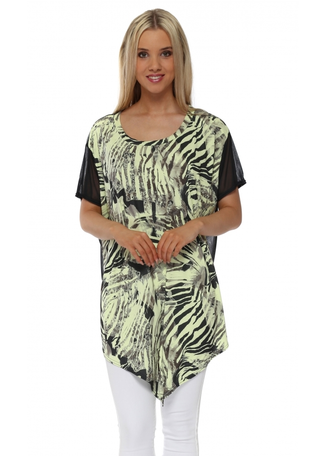 A Postcard From Brighton Tara Tropical Tribe Apple Chiffon Back Tunic Top