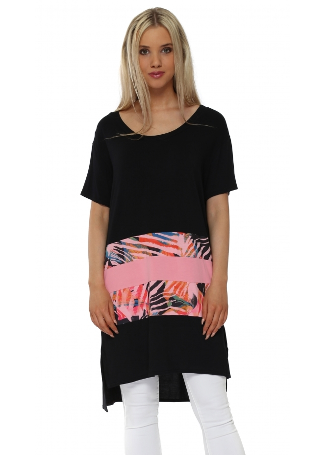 A Postcard From Brighton Taylor Coral Tropical Tribe Colour Block Tunic Top