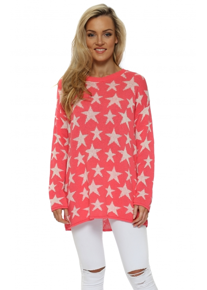 A Postcard From Brighton Coral & Cream Ibiza Stars Soft Knit Jumper