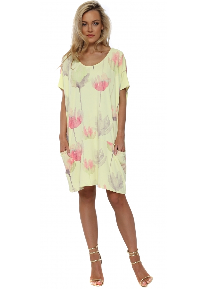 A Postcard From Brighton Ali Arty Bloom Big Pocket Dress Top In Lemonade
