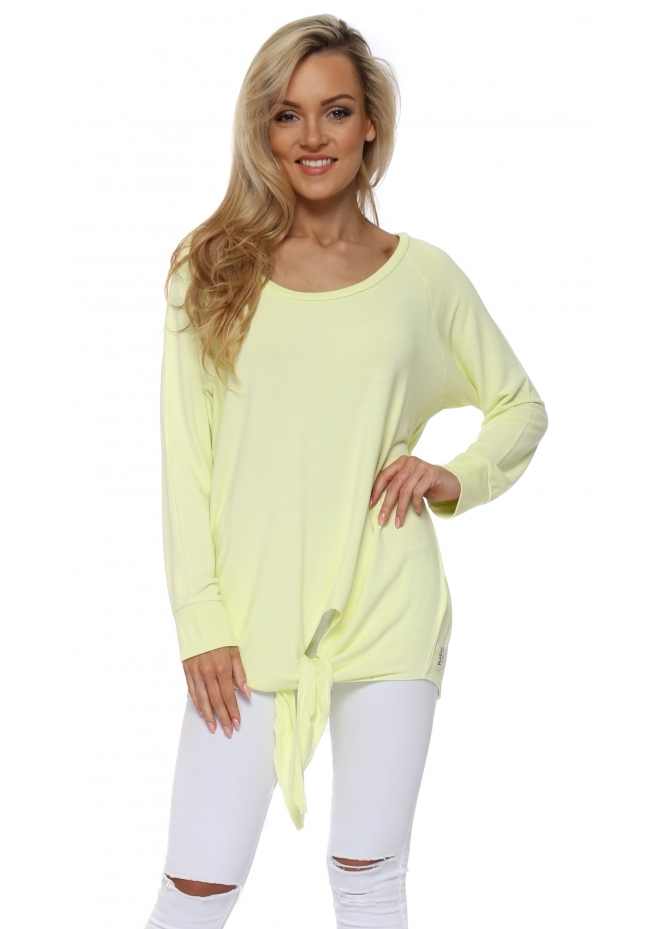A Postcard From Brighton Viv Lemonade Tie Front Oversized Sweater
