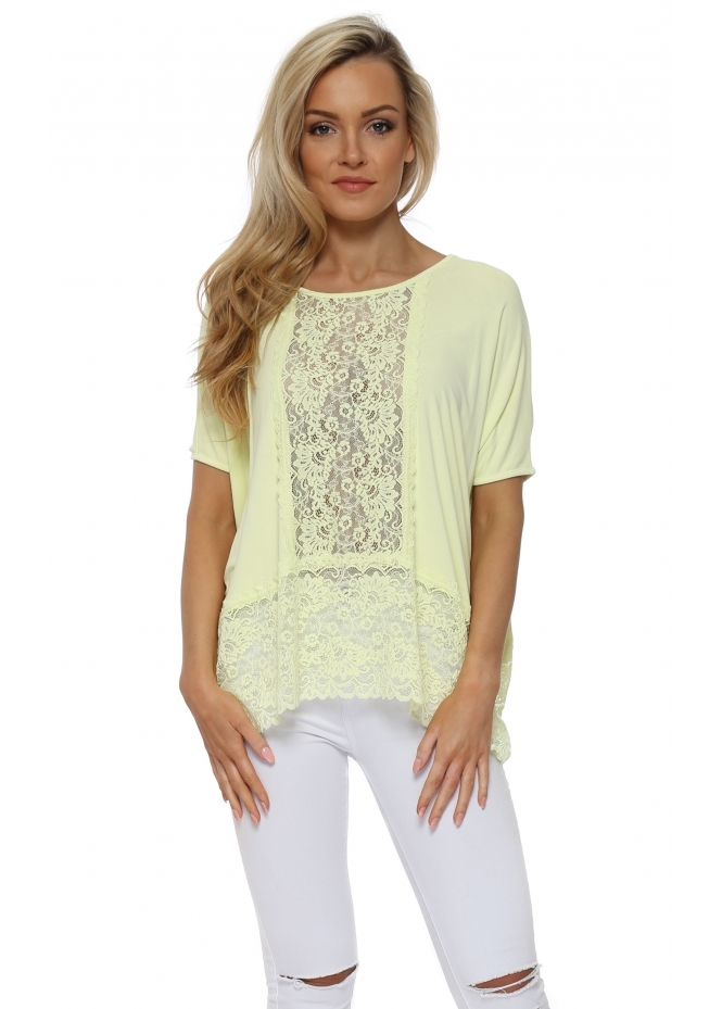 A Postcard From Brighton Sleeveless Binkie Lemonade Lace Insert Slouch Top
