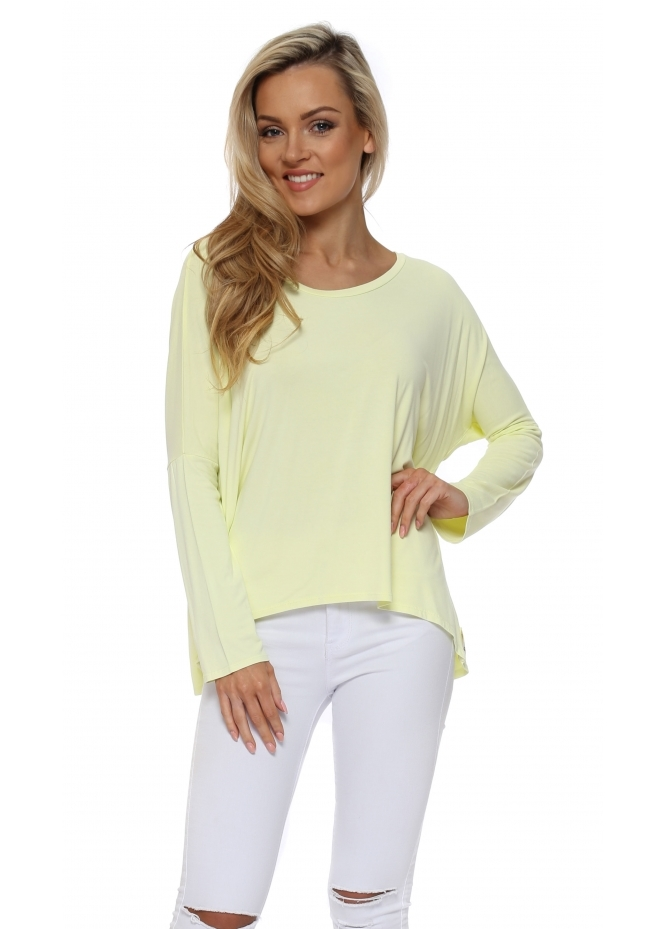A Postcard From Brighton Karma Long Sleeve Slouch Top In Lemonade