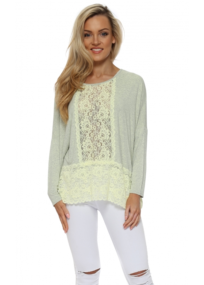 A Postcard From Brighton Binkie Lemonde Melange Lace Insert Slouch Top