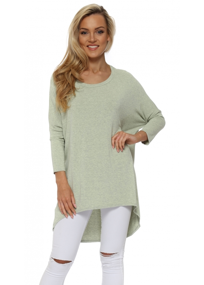A Postcard From Brighton Lemonade Melange Flirty Dip Hem Slouch Top