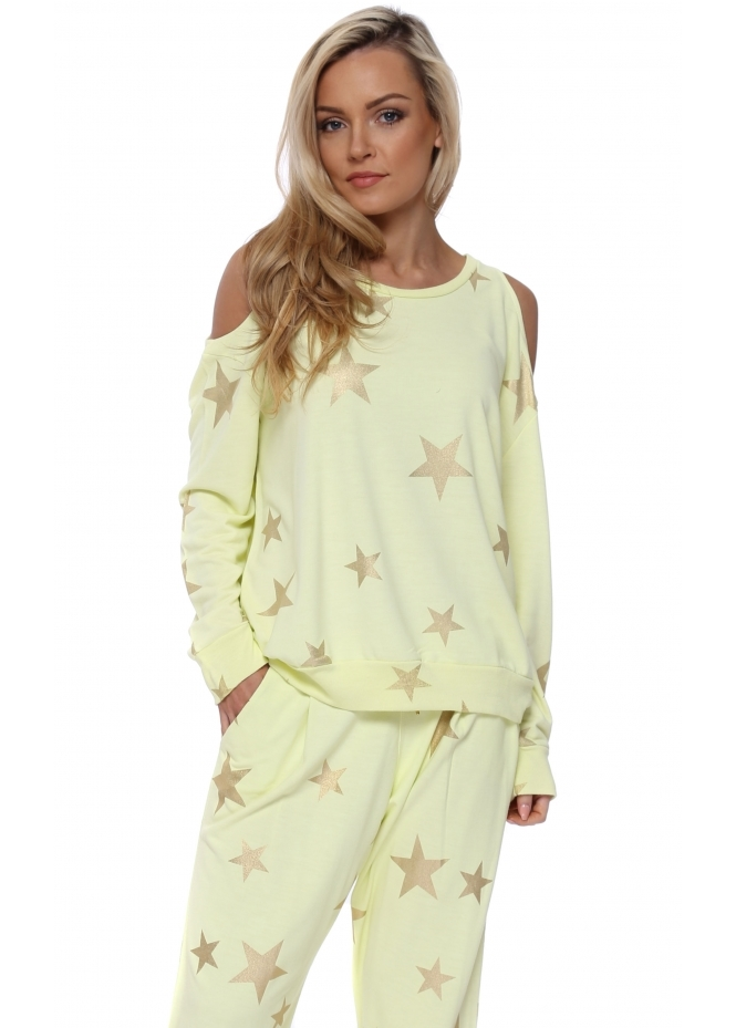 A Postcard From Brighton Belle Lemonade Gold Foil Star Cold Shoulder Sweater