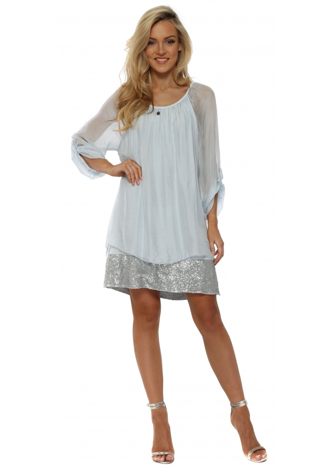 French Boutique Baby Blue Sequinned Border Silk Tunic Dress