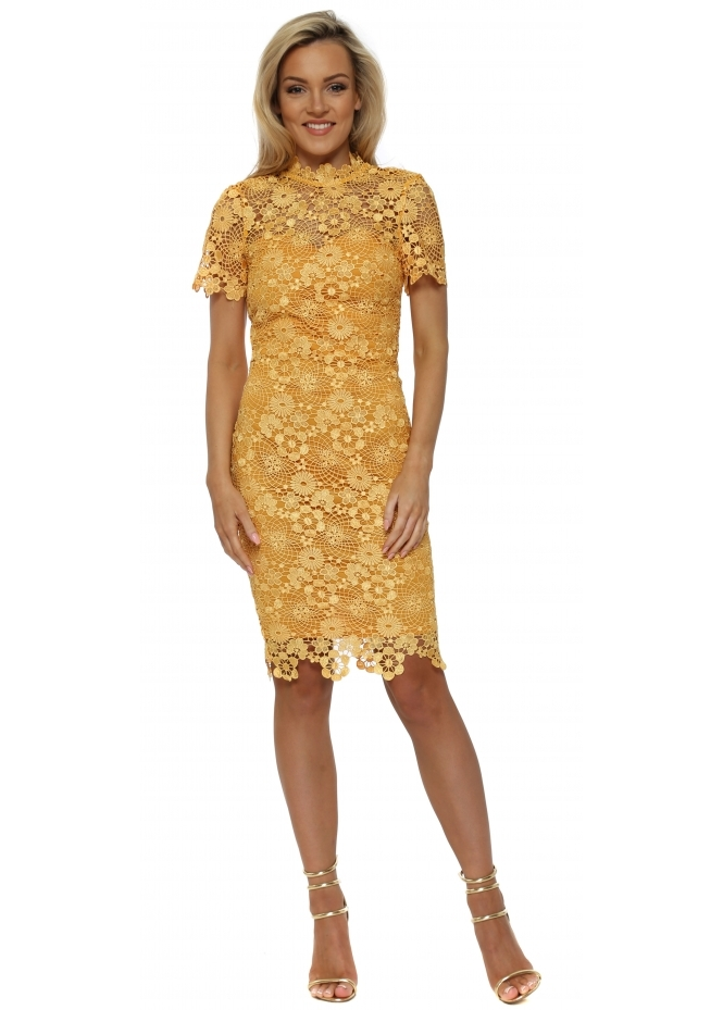 Paper Dolls Golden Yellow Daisy Crochet Lace Pencil Dress