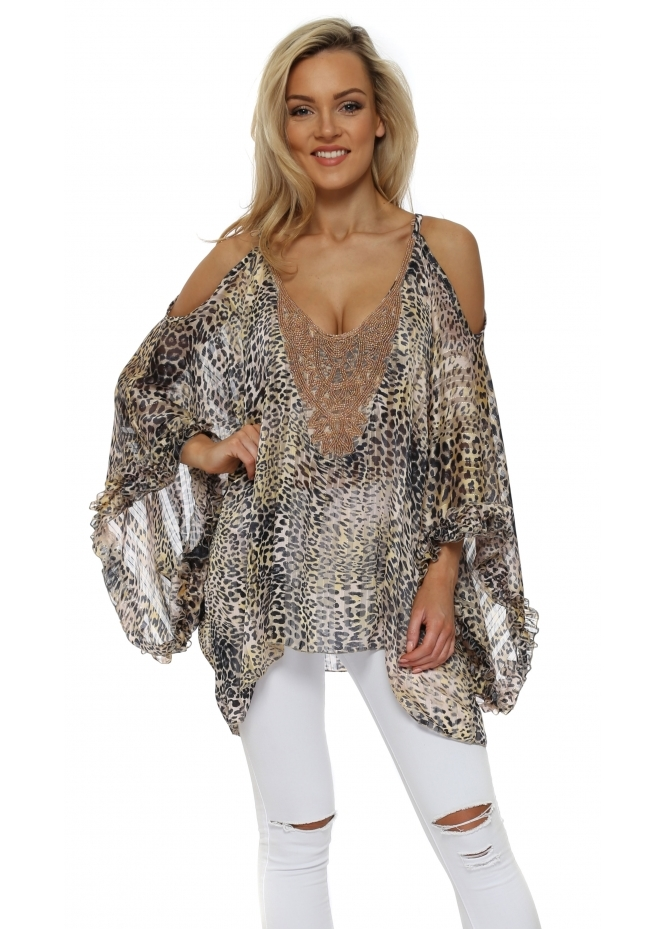 My Story Leopard Cold Shoulder Beaded Kaftan Top