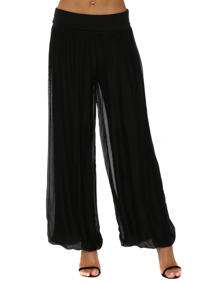 French Boutique Black Silk Palazzo Trousers
