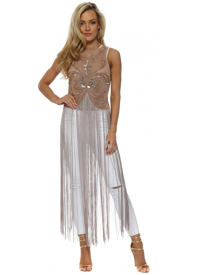 A Star Is Born Nude Pink Beaded Embellished Fringe Body