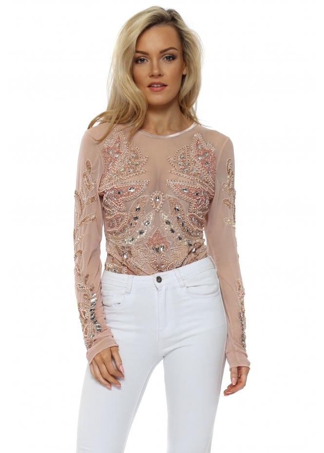 A Star Is Born Ava Nude Pink Luxe Embellished Long Sleeve Body