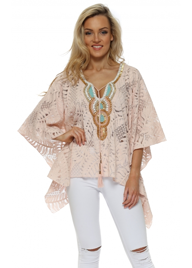 Laurie & Joe Pink Floral Lace Embellished Kaftan Top