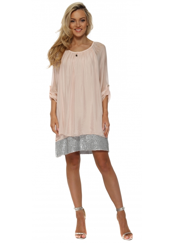 French Boutique Baby Pink Sequinned Border Silk Tunic Dress