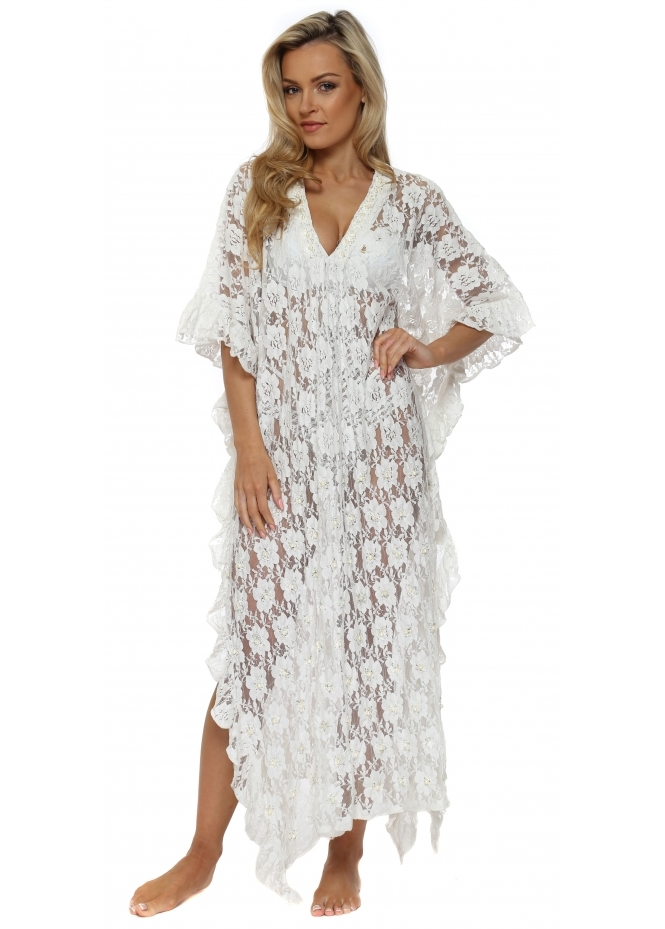 Antica Sartoria White Lace Pearl Embellished Maxi Kaftan Dress