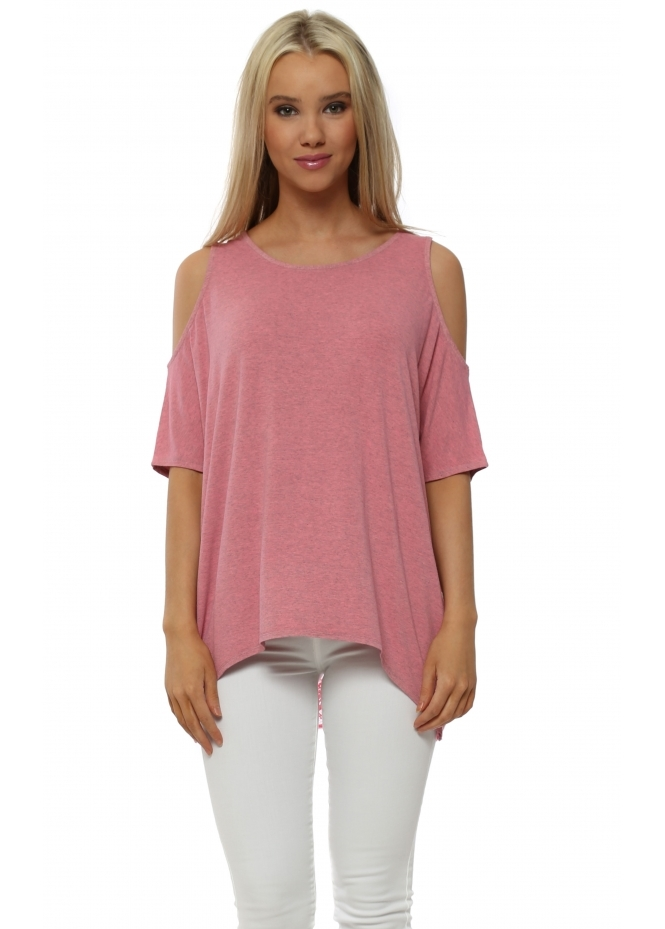 A Postcard From Brighton Twin Peaks Ibiza Sunrise Melange Cold Shoulder Lace Top