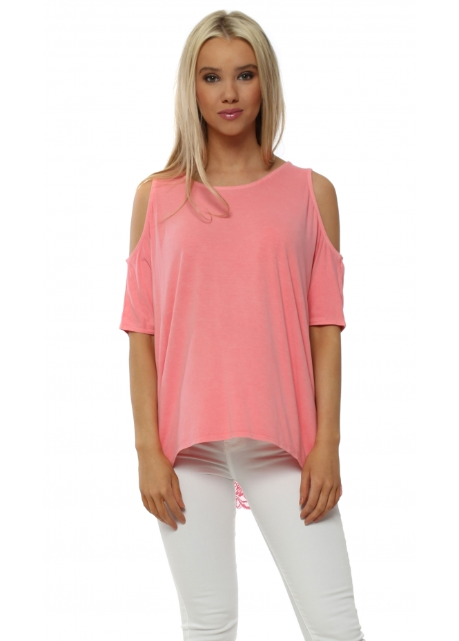 A Postcard From Brighton Twin Peaks Ibiza Sunrise Cold Shoulder Lace Top