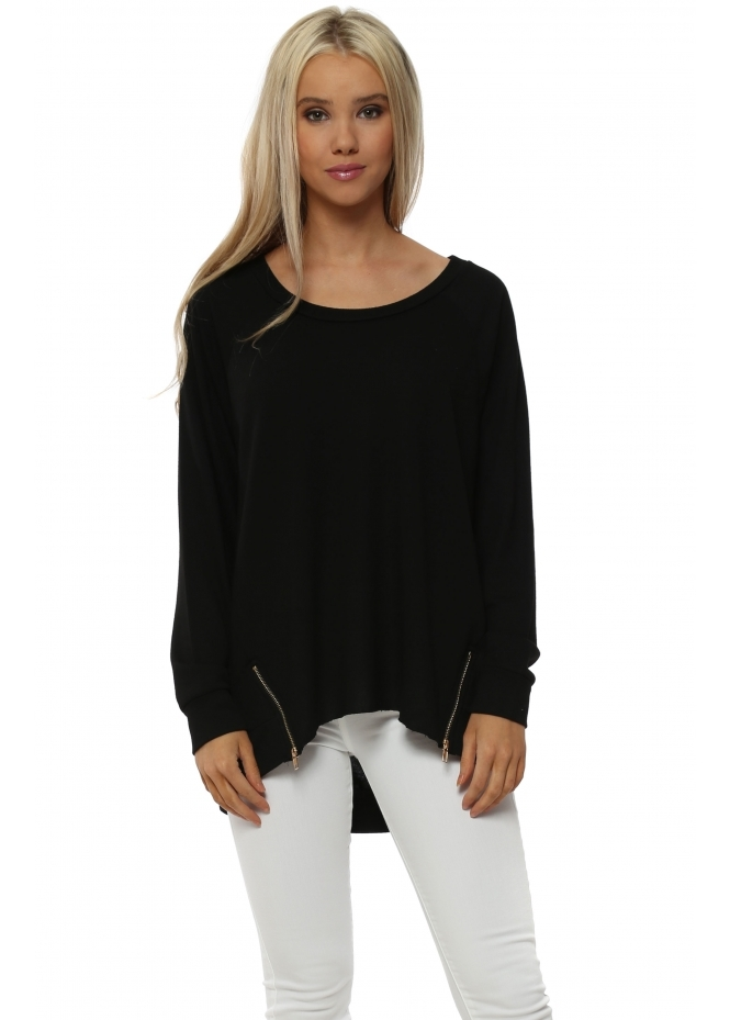 A Postcard From Brighton Vicky Black Zip Dip Hem Sweater