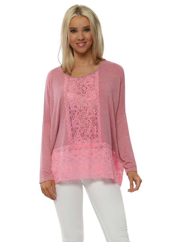 A Postcard From Brighton Binkie Ibiza Sunrise Melange Lace Insert Slouch Top