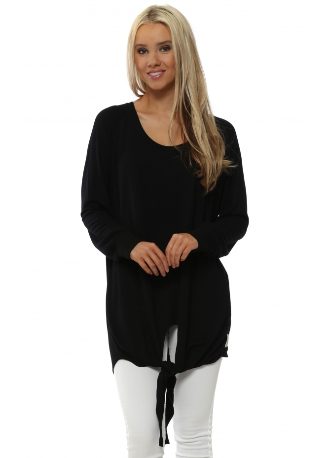 A Postcard From Brighton Viv Black Tie Front Oversized Sweater