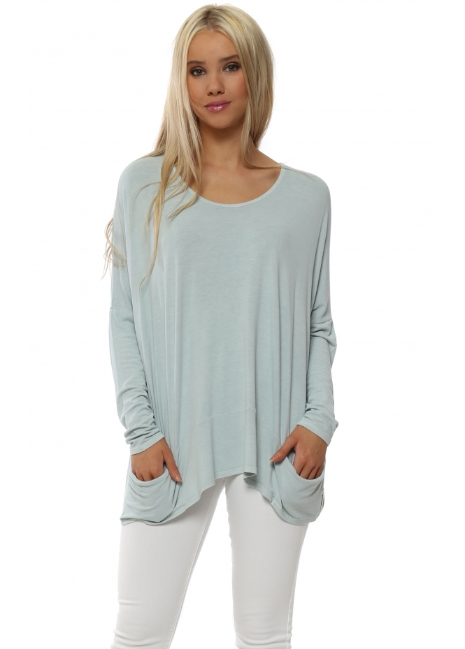A Postcard From Brighton Julep Grey Plain Pammy Slouch Jersey Top