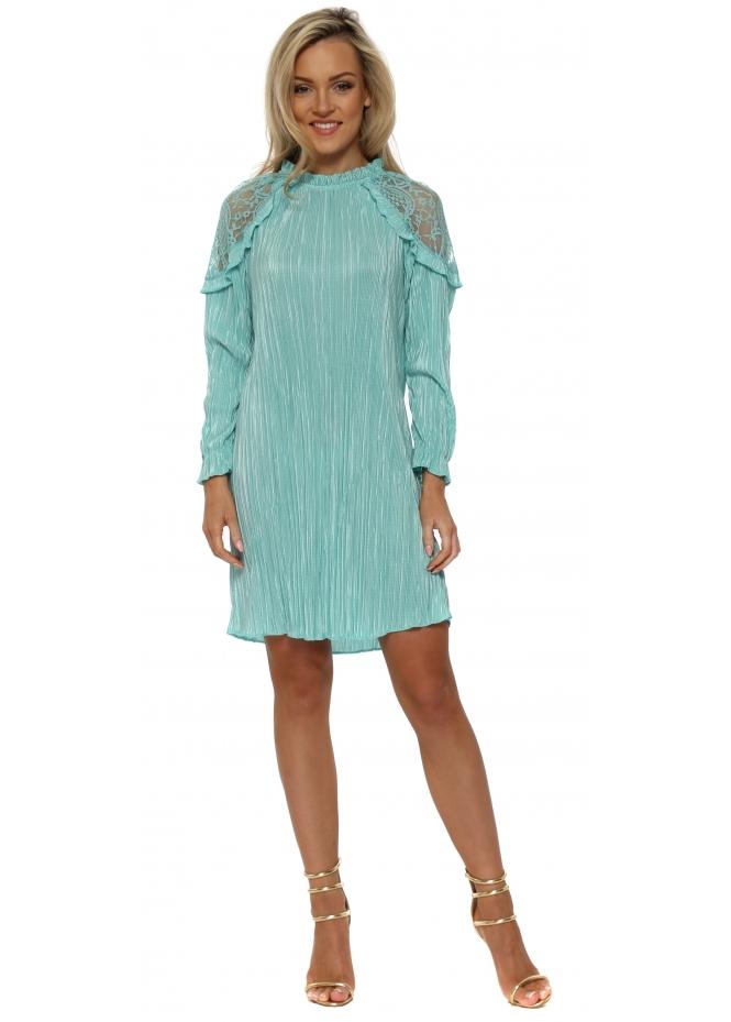 Just M Paris Turquoise Lace Shoulder Pleated Meryl Dress