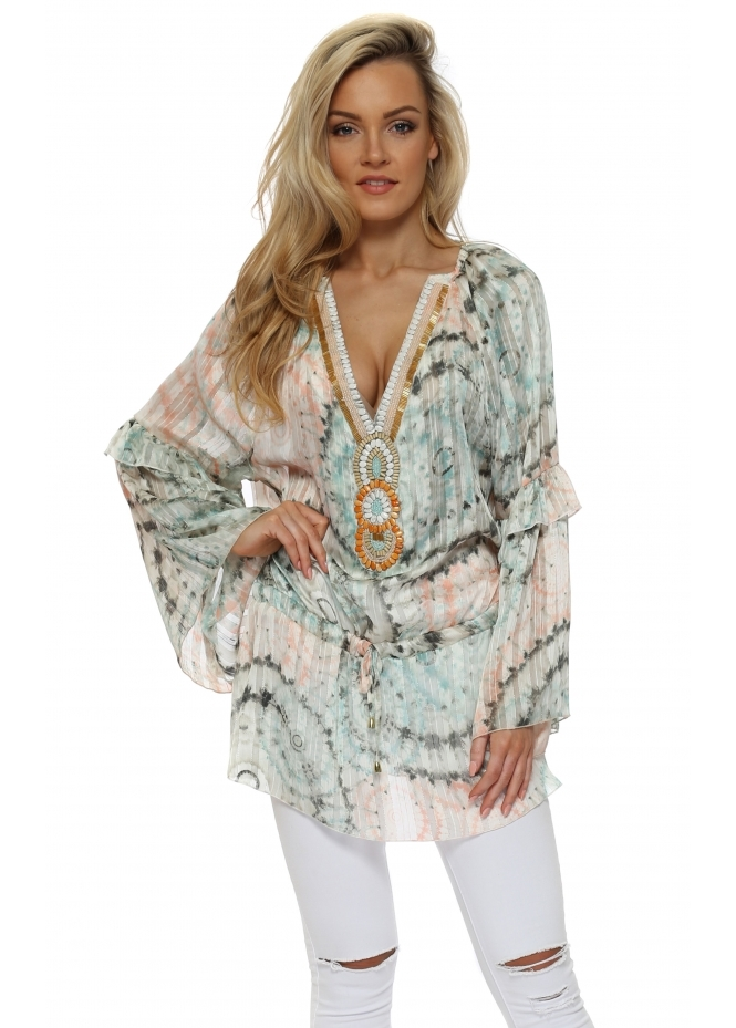 Just M Paris Mint & Peach Print Beaded Ava Tunic Top
