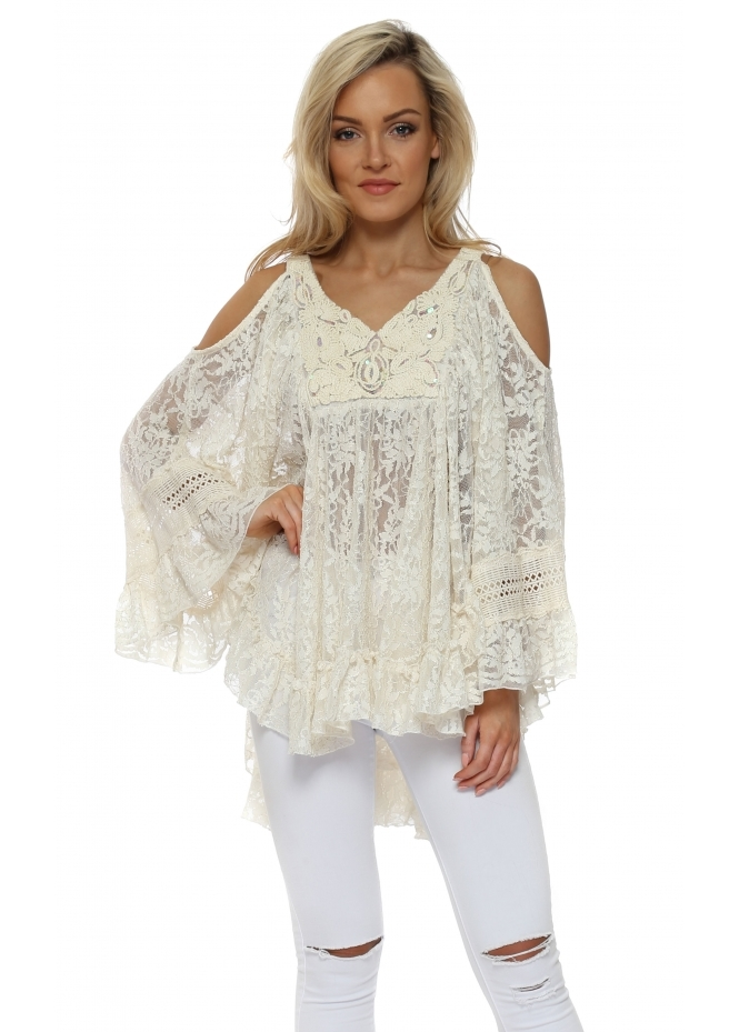 Laurie & Joe Cream Sparkle Lace Frilly Cold Shoulder Top