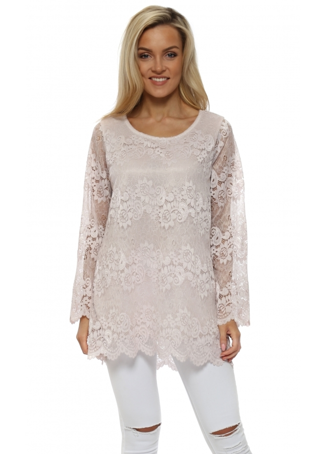 Made In Italy Dusky Pink Lace Scalloped Top