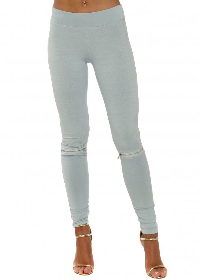 A Postcard From Brighton Flasher Zip Detail Julep Grey Jersey Leggings