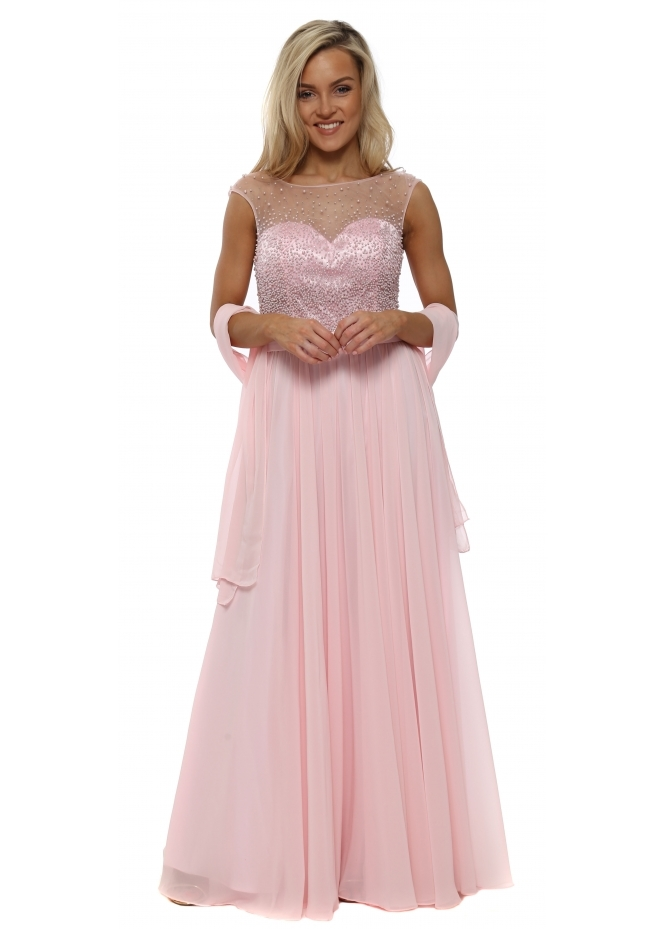 Mascara Baby Pink Pearl & Diamante Chiffon Evening Dress