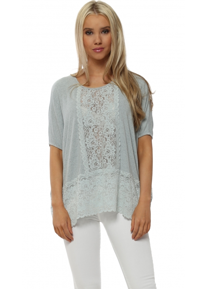 A Postcard From Brighton Sleeveless Binkie Julep Grey Melange Lace Insert Slouch Top