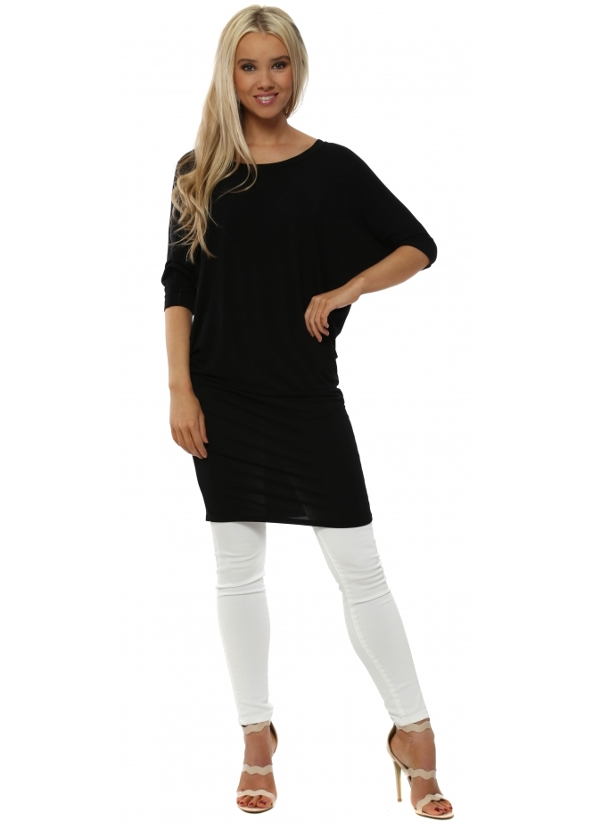 A Postcard From Brighton Harriet Black Short Sleeve Long Tunic Top