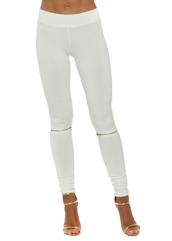 A Postcard From Brighton Flasher Zip Detail Vanilla Jersey Leggings