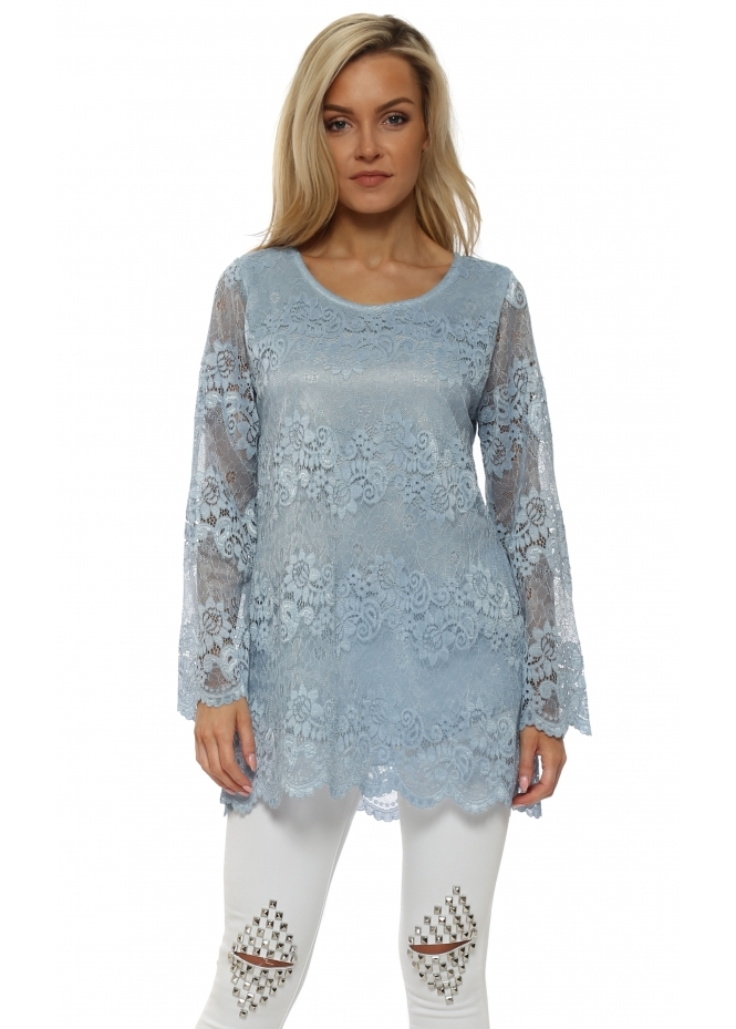 Made In Italy Blue Lace Scalloped Tunic Top