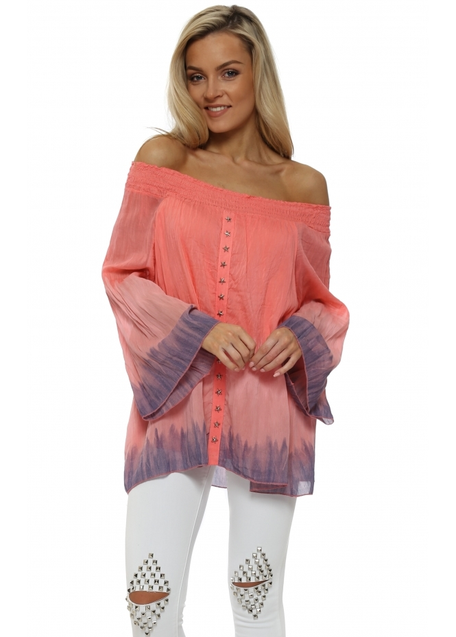 Sugar Babe Coral Tie Dye Star Studded Off The Shoulder Top