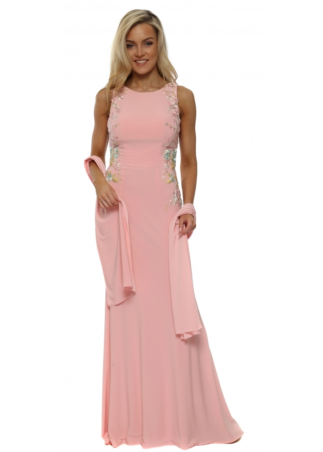 Mascara Pink Floral Embroidered Backless Evening Dress