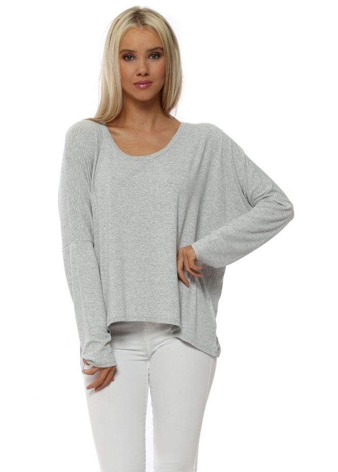 A Postcard From Brighton Karma Long Sleeve Slouch Top In Vanilla Melange