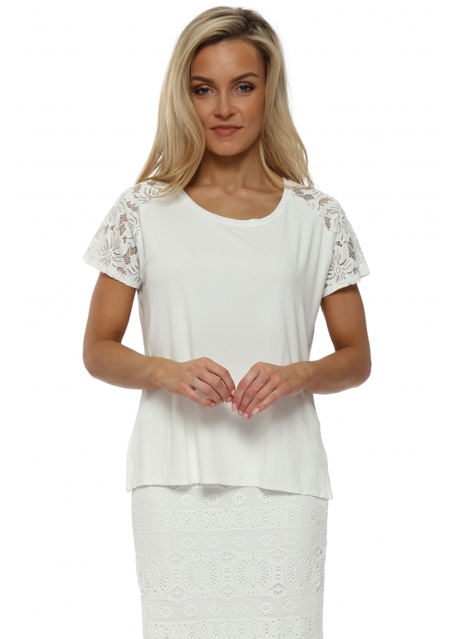 A Postcard From Brighton Carrie Lace Cap Sleeve Top In Vanilla