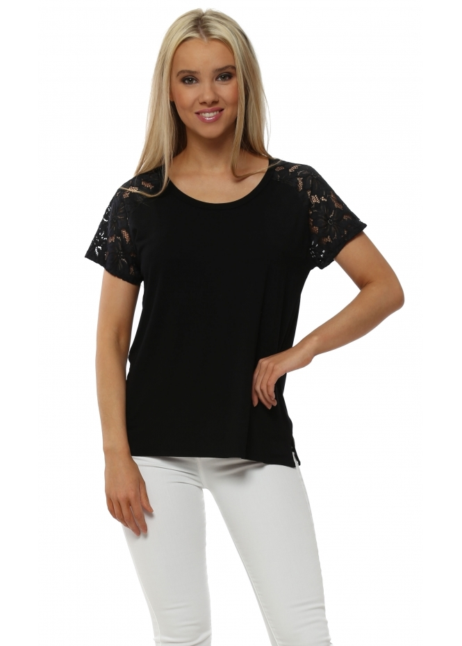 A Postcard From Brighton Carrie Lace Cap Sleeve Top In Black