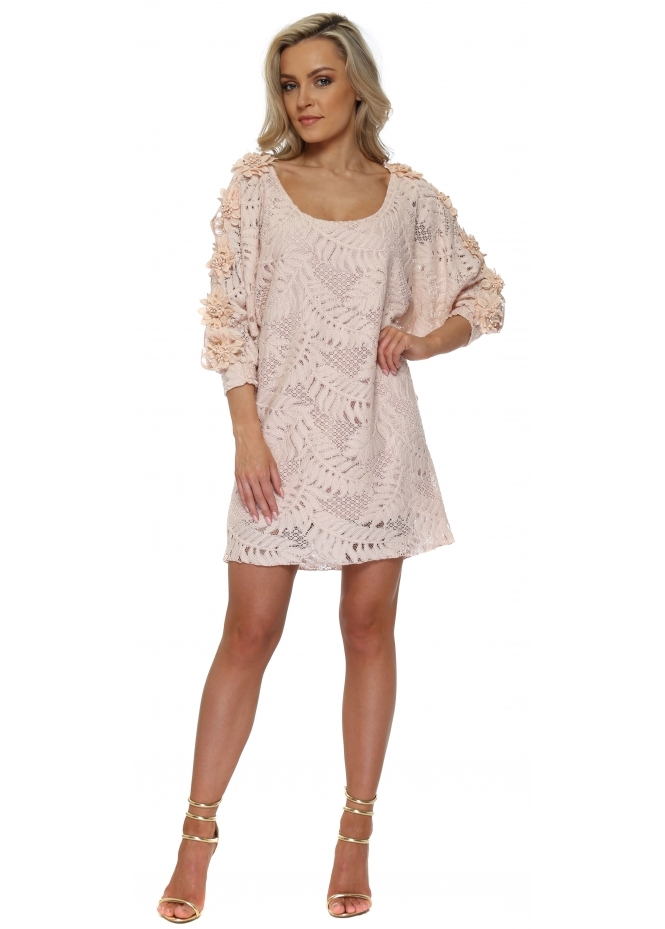 Laurie & Joe Pink Lace Floral Diamante Sleeve Tunic Dress