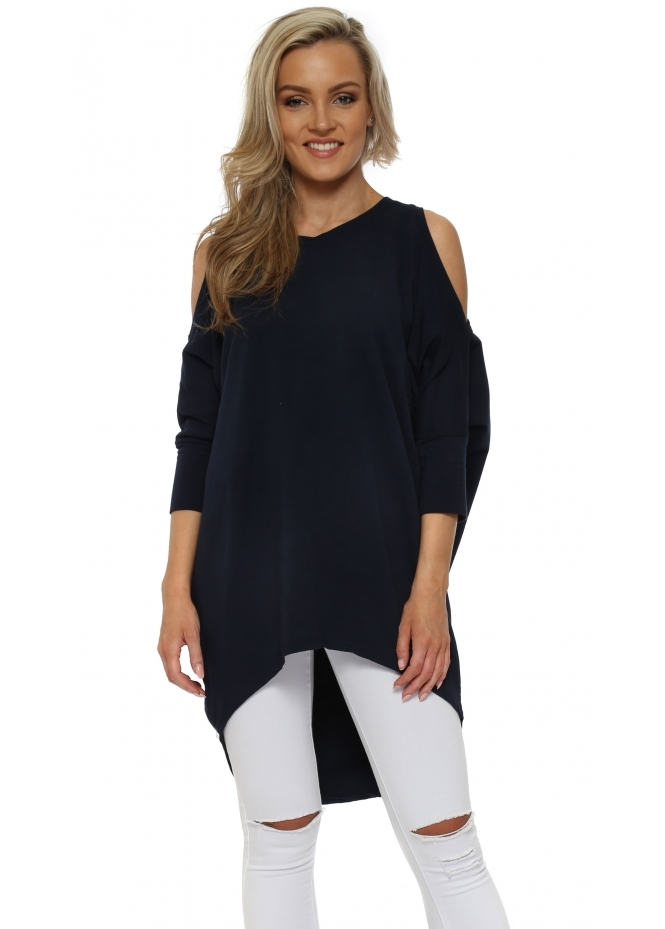 Italian Boutique Navy Blue Cold Shoulder Long Cotton Sweatshirt