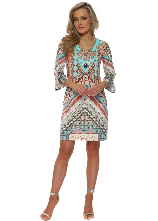 K-Design Multicolour Geometric Print Sequinned Dress