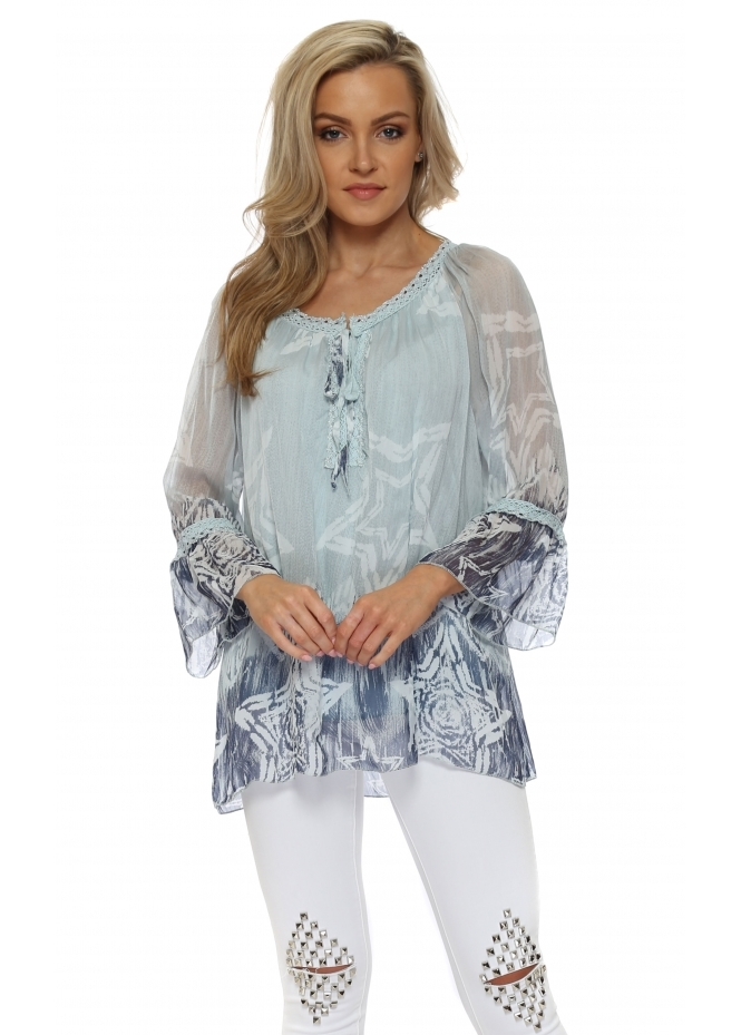 Made In Italy Blue Fragmented Star Print Silk Top