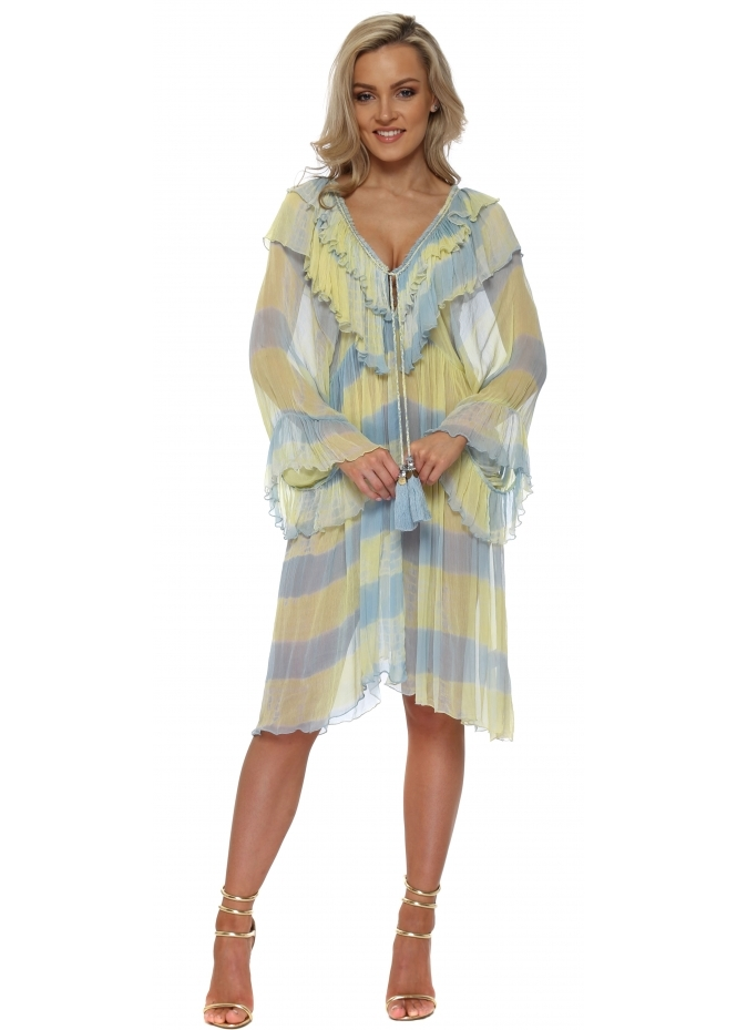 Laurie & Joe Blue & Yellow Ruffled Jewelled Kaftan Dress