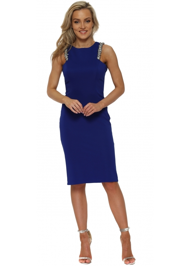 Pia Michi Cobalt Blue Sequinned Strap Mesh Back Pencil Dress