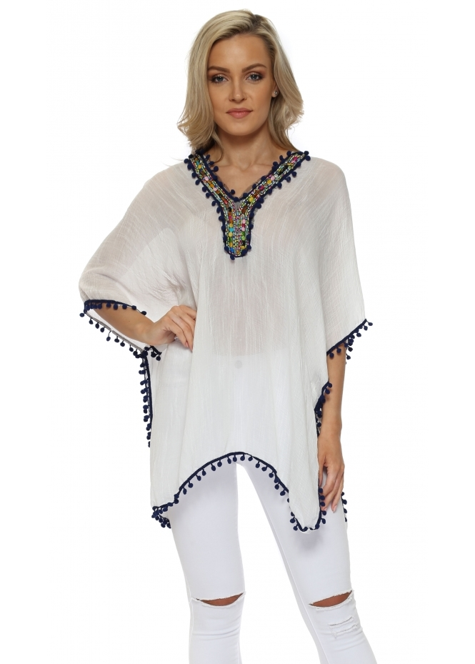 French Boutique Rainbow Beaded Navy Blue Pom Pom Kaftan